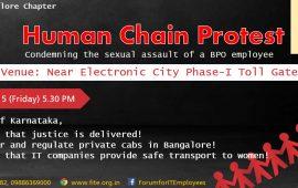Human chain condemning sexual assault of a BPO women employee – Bengaluru