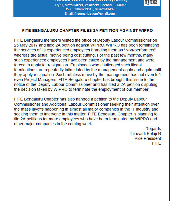 FITE BENGALURU CHAPTER FILES 2A PETITION AGAINST WIPRO , 27 May 2017