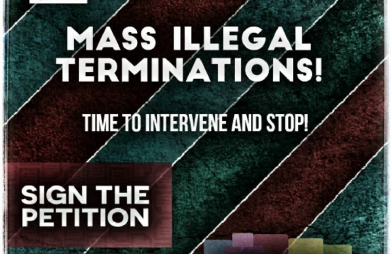 Mass Illegal Terminations! Time to intervene and stop!