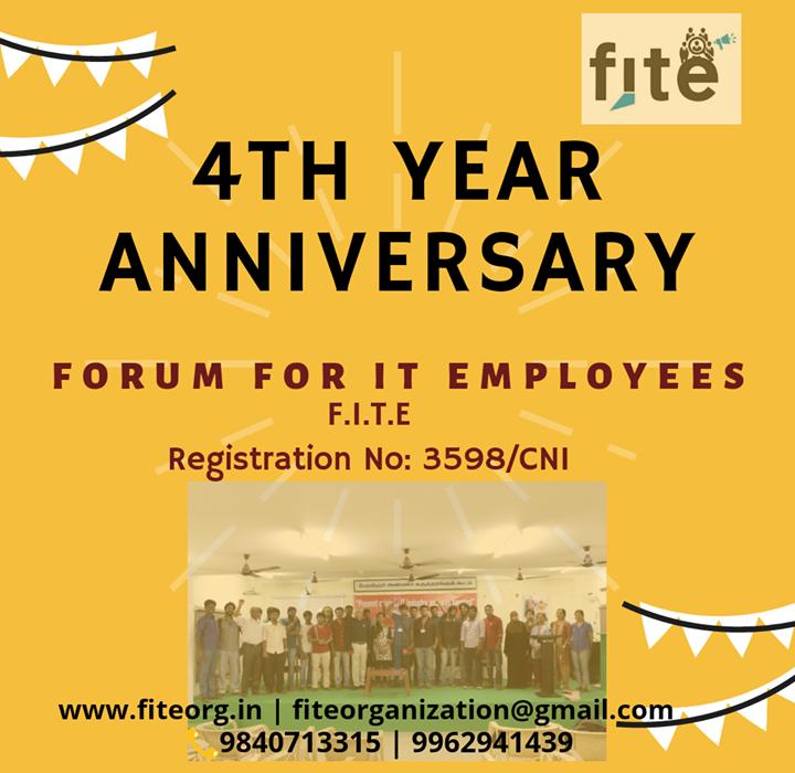 F.I.T.E – 4th year Anniversary Greetings